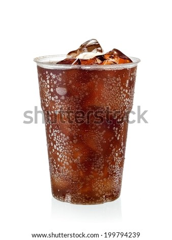 Plastic cup with cola and ice