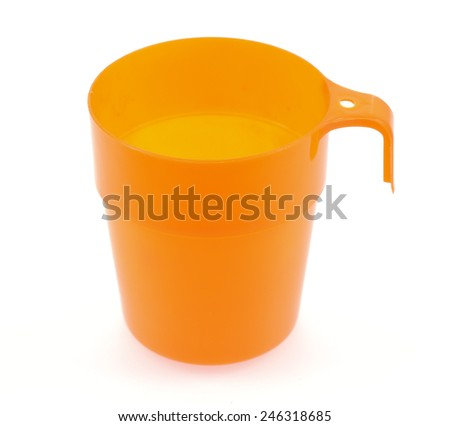 plastic cups isolated on white background - stock photo