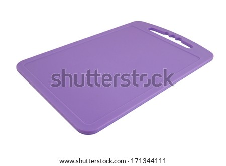 Plastic cutting board isolated on white