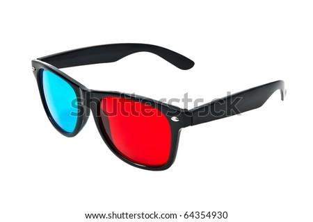 plastic 3D glasses over white - stock photo