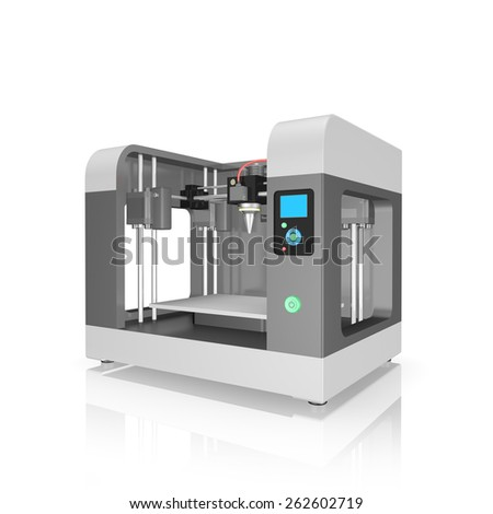 plastic 3D printer isolated on white background - stock photo