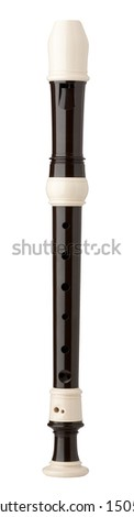 Plastic Descant Recorder isolated on white with clipping path - stock photo