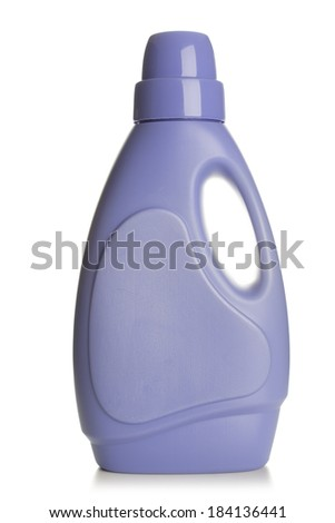 Plastic detergent bottle, isolated on white background