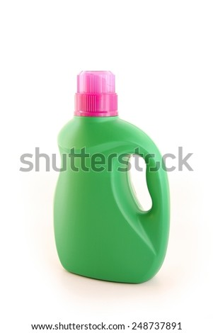 Plastic detergent bottle on white background. - stock photo
