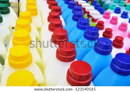Plastic detergent bottles - cleaning products - stock photo