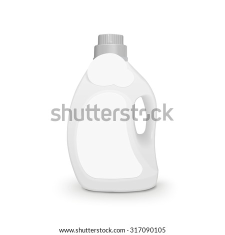 plastic detergent container isolated on white background