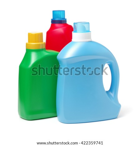 Plastic detergent container on white background - stock photo