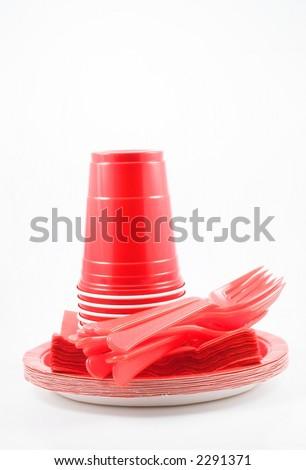 Plastic Dinnerware - stock photo