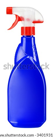 Plastic dispenser with blue cleaning liquid / studio photography of spray multipurpose cleaner - isolated on white background - stock photo