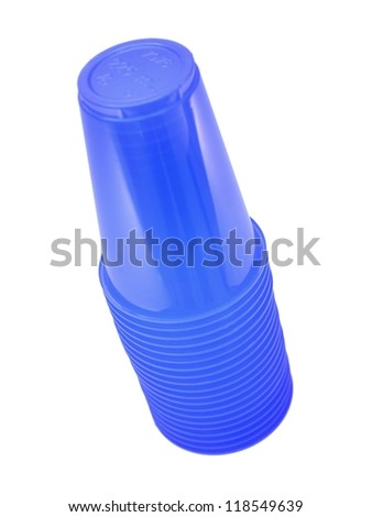 Plastic disposable cups isolated against a white background