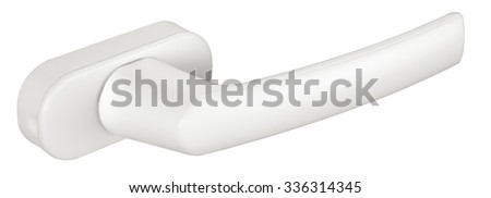 plastic door-handle on white background. Isolated. Close up. - stock photo