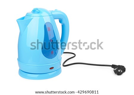 plastic electric kettle isolated on white background - stock photo