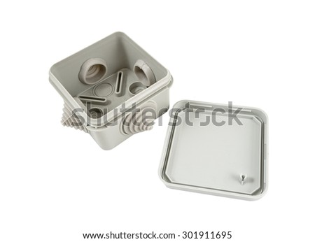 plastic electrical junction box isolated on white background - stock photo