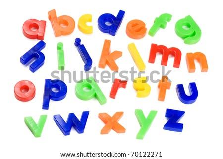 Plastic English letters isolated on white background - stock photo