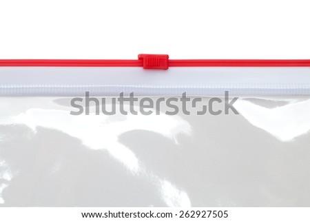 Plastic file bag zipper, Close-up. - stock photo