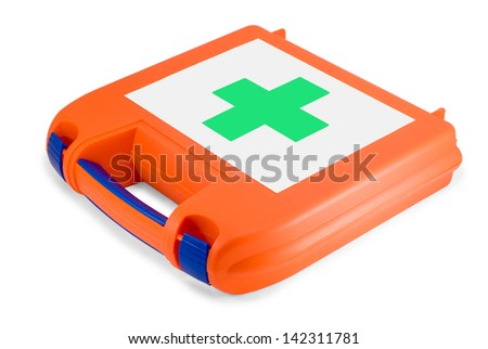 Plastic first-aid kit isolated on white background