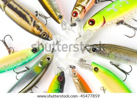 Plastic fishing lures, extreme close-up 100/2.8 Macro lens used - stock photo