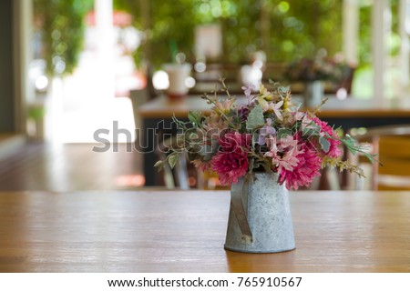Plastic Flower Bouquet Vintage Tin Vase Stock Photo Royalty Free