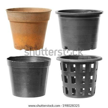 Plastic flowerpot isolated on white background - stock photo