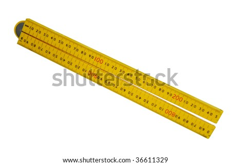 Plastic Folding Ruler isolated with clipping path
