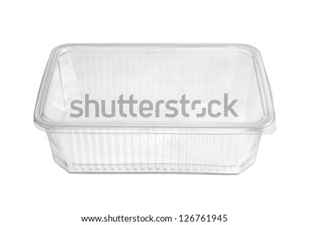 Plastic food box isolated on white background - stock photo