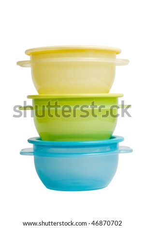 plastic food containers like tupperware isolated on white background - stock photo