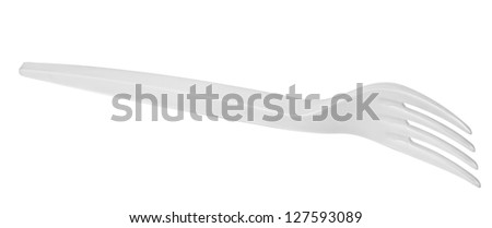 plastic fork isolated on a white background - stock photo