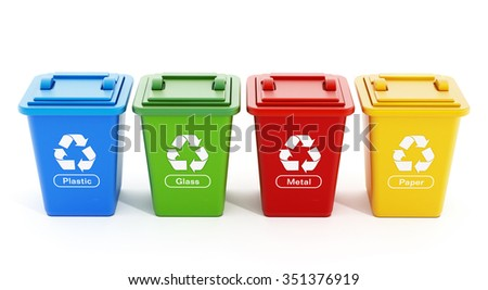Plastic, glass, metal and paper recycle bins isolated on white background