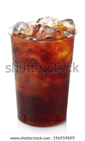 Plastic glass of cola with ice isolated on white background - stock photo