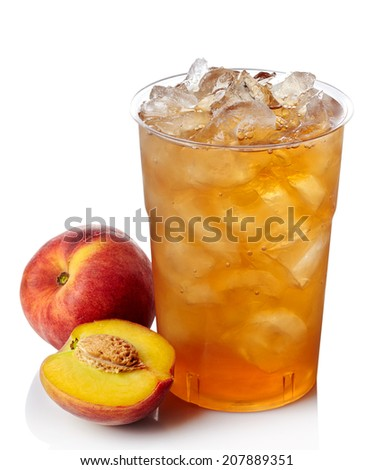 Plastic glass of peach ice tea isolated on white background - stock photo