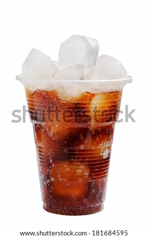 plastic glass with ice and a cola on a white background - stock photo