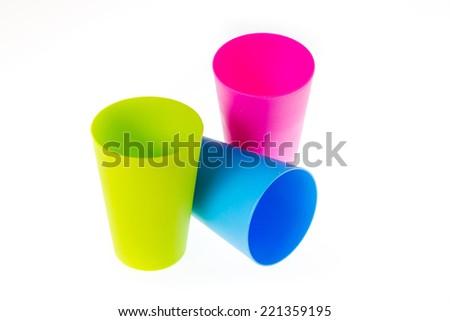 plastic glasses isolated on white background - stock photo