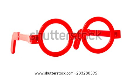 Plastic glasses toy on white background - stock photo