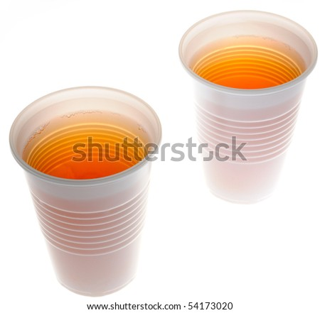 Plastic glasses with a drink