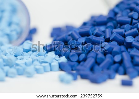 plastic granules close up for molding - stock photo