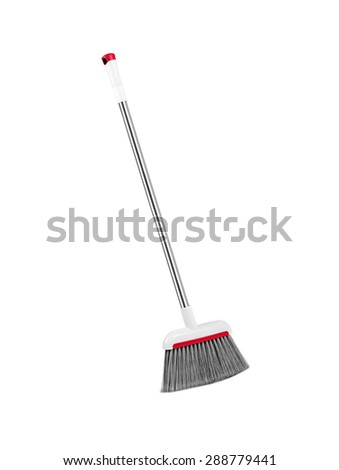 plastic gray broom isolated on white background.