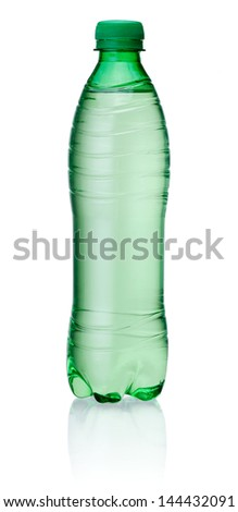 Plastic green bottle of water isolated on white background - stock photo