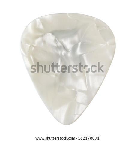 plastic guitar plectrum, isolated on white background - stock photo