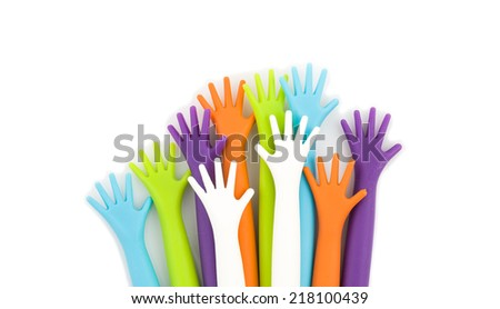 Plastic hand isolated white background