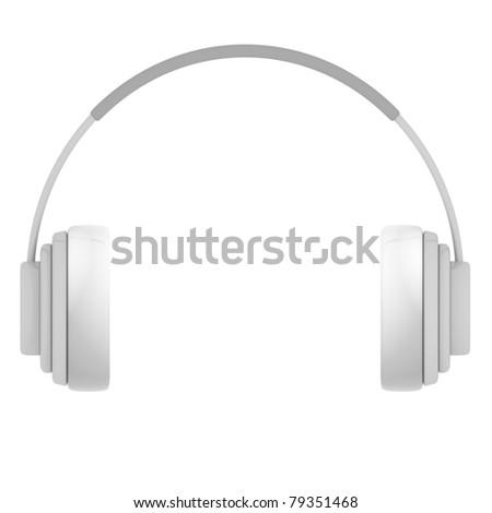 Plastic Headphones isolated on white - 3d illustration - stock photo