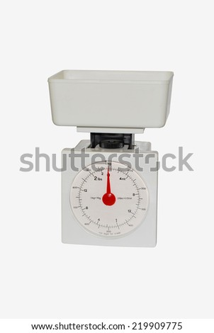Plastic kitchen scale isolated over white. Weight measurement intrument