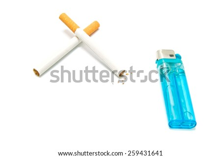 plastic lighter and two cigarettes on white background