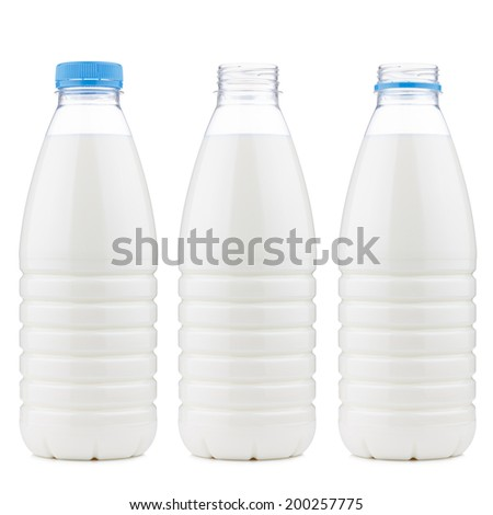Plastic 1 liter milk bottle closed and open, isolated on white background - stock photo