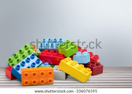 Plastic locking brick toys, pile of
