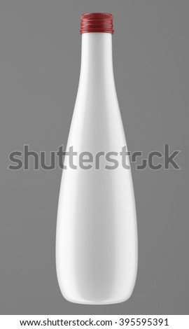 Plastic, metallic, ceramic or glass white bottle isolated on gray background. 3D Mock up for your design. Beer, shampoo, conditioner, shower gel, cosmetics, beverage, brandy, whiskey, liquor, syrup. - stock photo