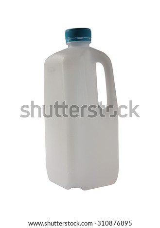 Plastic milk bottle isolated on white background - stock photo