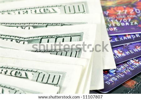 plastic money and paper background or texture