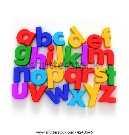 Plastic multicolored Alphabet on a neutral background