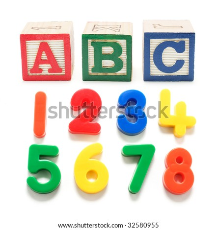 Plastic Numbers and Alphabet Blocks on White Background