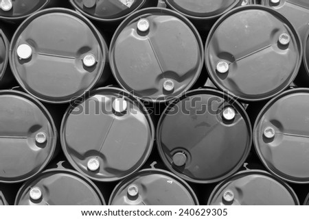 plastic oil tank,black and white concept. - stock photo